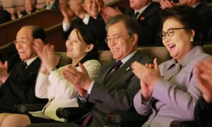 South Korea's president Moon Jae-in sits with Kim Yo-jong and North Korea's ceremonial head of state Kim Yong-nam as they watch a concert in Seoul.