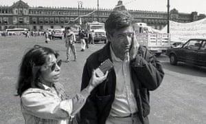 Regina Martínez interviewing current Mexican president Andrés Manuel López Obrador in 1992.