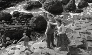 A 1950s family on the famous Giant's Causeway, County Antrim, Northern Ireland.