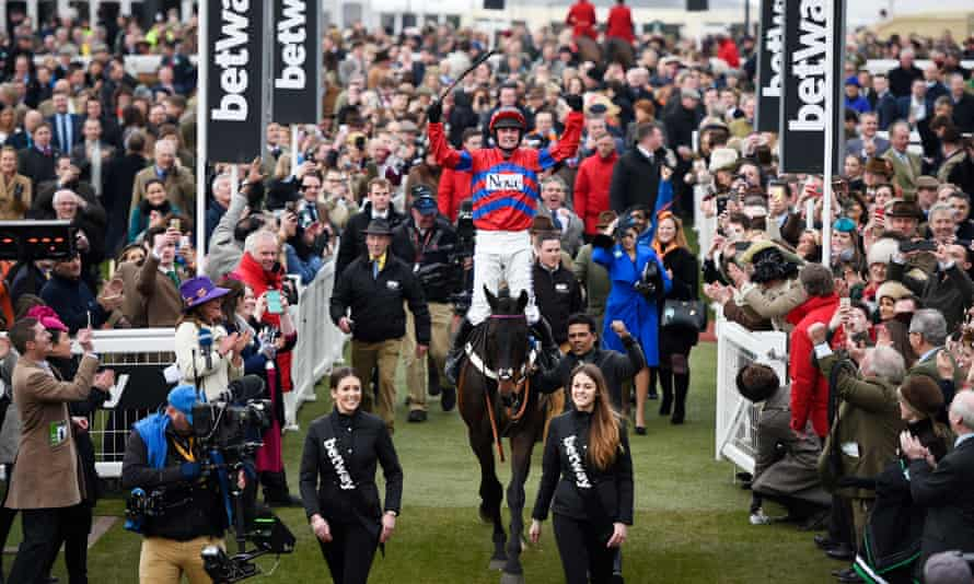 Nico de Boinville celebrates as Sprinter Sacre returns to one of the great Cheltenham Festival receptions after winning the Queen Mother Champion Chase on Wednesday.