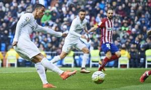 Cristiano Ronaldo shoots.