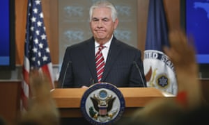 Rex Tillerson takes questions from members of the media while speaking at the state department in Washington Tuesday.