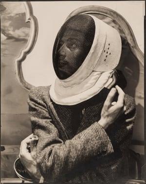 Salvador Dali in Fencer's Mask, 1936