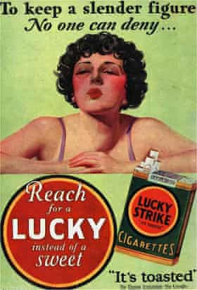 A 1930's advert for Lucky Strike cigarettes with the line: 'To keep a slender figure'