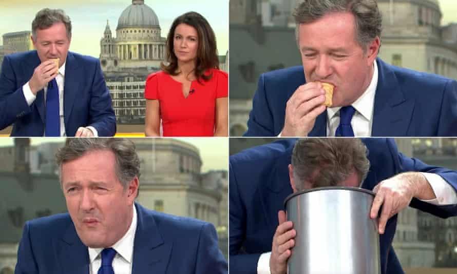 Piers Morgan tries a vegan sausage roll on ITV's Good Morning Britain.