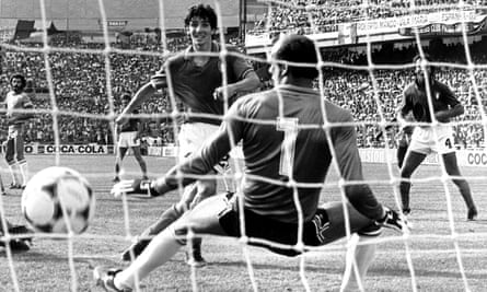 Paolo Rossi completes his hat-trick goal in Italy's 3-2 win over Brazil at the 1982 World Cup in Spain.