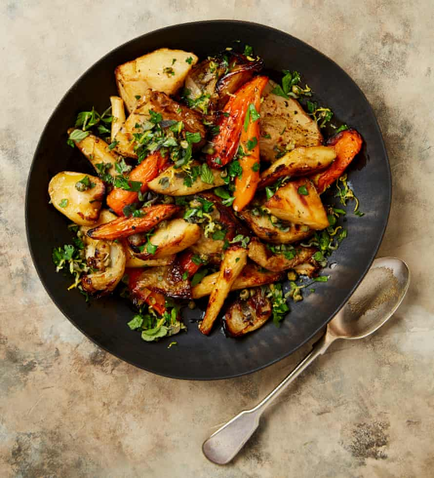 Stock answer: Yotam Ottolenghi's reinvigorated roast stock vegetables with caper gremolata.