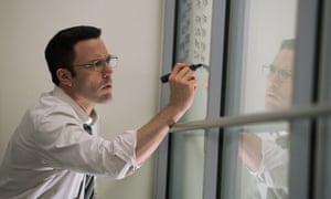 Oh no – it's the writing-equations-on-window scene! Ben Affleck in The Accountant.