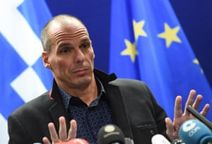 Greek Finance Minister Yanis Varoufakis gives a press conference on February 16, 2015 at the end of an Eurogroup finance ministers meeting at the European Council in Brussels.Images