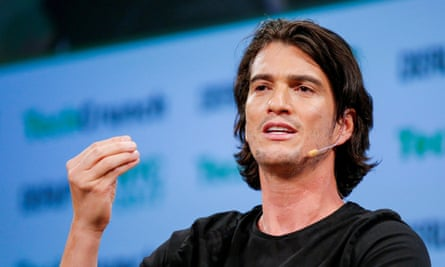 FILE PHOTO: Neumann, CEO of WeWork, speaks to guests during the TechCrunch Disrupt event in Manhattan, in New York City<br>FILE PHOTO: Adam Neumann, CEO of WeWork, speaks to guests during the TechCrunch Disrupt event in Manhattan, in New York City, NY, U.S. May 15, 2017. REUTERS/Eduardo Munoz/File Photo