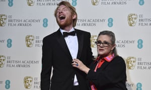 Carrie Fisher and Domhnall Gleeson