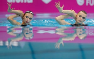 Mikhaela Kalancha (left) and Aleksandr Maltsev of Russia during the synchronised swimming mixed duet free final on day three of the 33rd LEN European Aquatics Championships