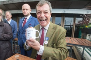 Number one fan. MEP and former leader of the UK Independence Party Nigel Farage visits a Wethespoons pub ahead of a Leave Means Rally in Torquay in 2018