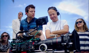 Michael Winterbottom on the set of The Trip to Italy.
