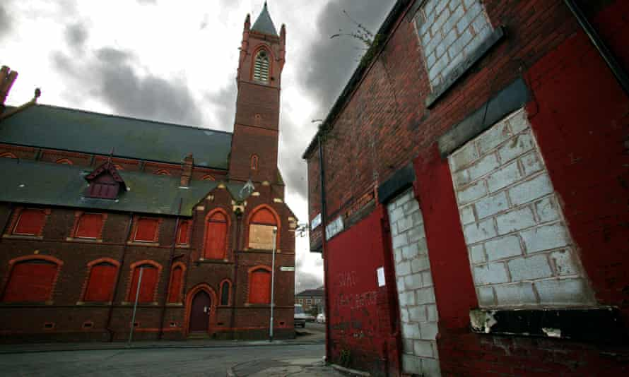 St Benedict's Church in West Gorton, Manchester, was boarded up for years before reopening as a climbing centre.