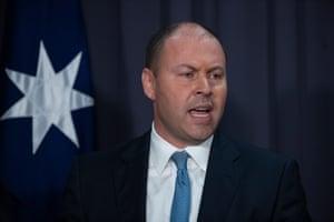 Treasurer Josh Frydenberg at a press conference in Canberra last month