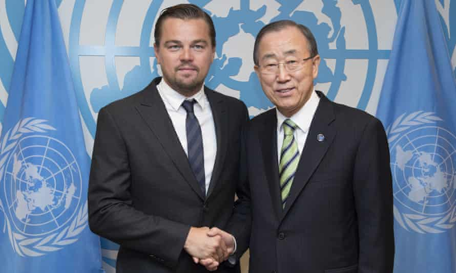 UN secretary-general Ban Ki-moon and actor Leonardo DiCaprio at the UN in New York on 22 April 2016