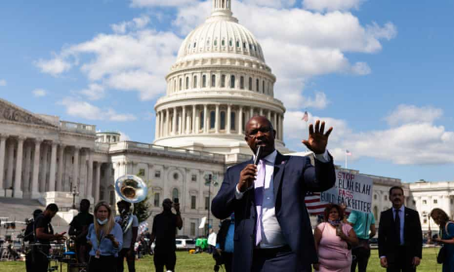 Congressman Jamaal Bowman, a Democrat from New York, speaks at a demonstration at the US Capitol in favor of the Build Back Better Act.