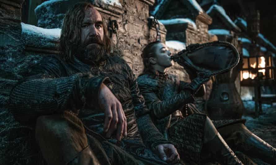 Enemy-slash-protector ... Arya is reunited with The Hound.