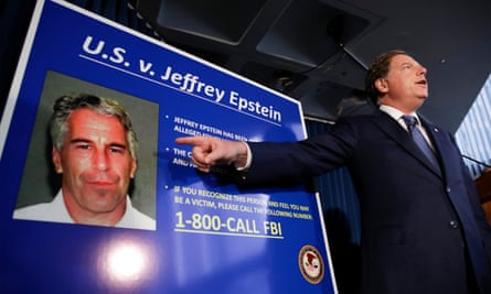 The US attorney Geoffrey Berman speaks during a news conference about Epstein's arrest last month.