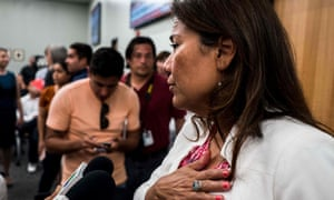 Texas Representative Veronica Escobar answers press questions after a mass shooting in El Paso, in her congressional district, at the weekend