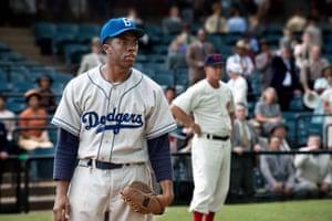 Boseman as Jackie Robinson in 42.