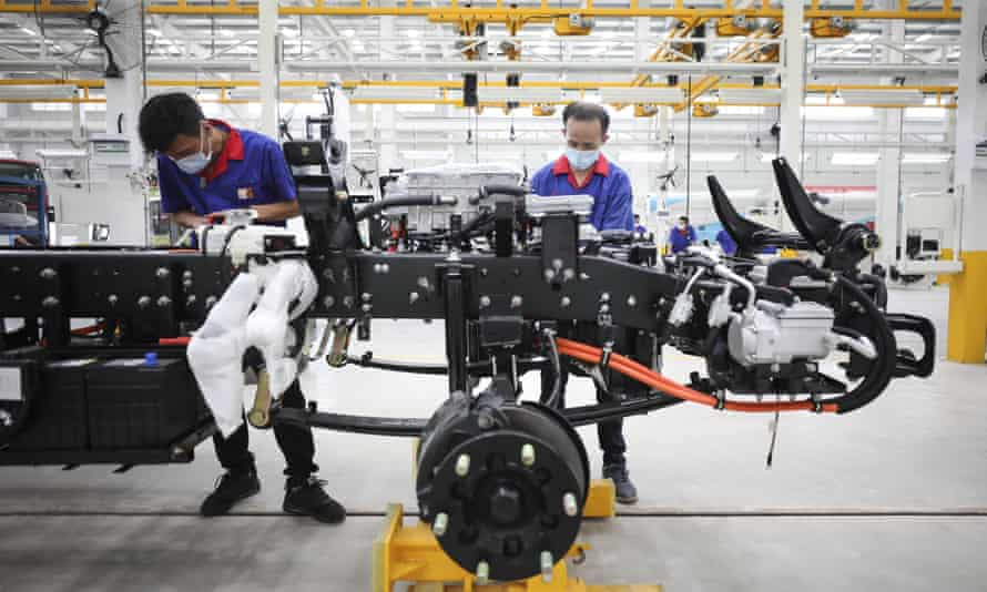 A BYD factory in Huai'an, China. The company is little-known in the west but it was Asia's biggest seller of battery-only vehicles in 2020, outpacing Toyota, Honda and Hyundai.