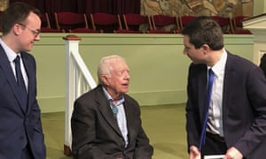 Jimmy Carter met Democratic presidential candidate Pete Buttigieg, right, and his husband, Chasten Glezman, left in Georgia earlier this month.