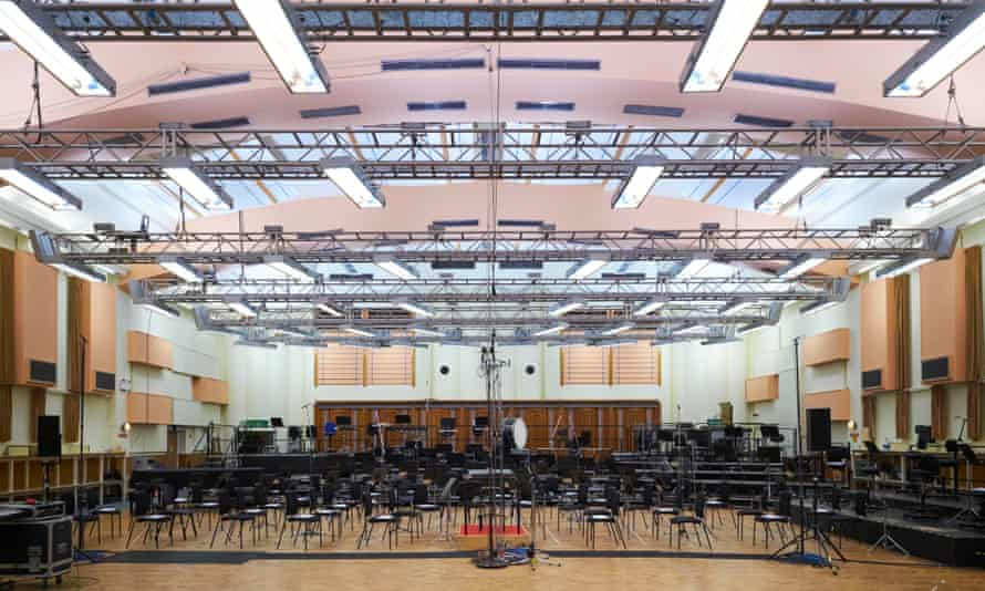 Interior of the studios, set up for the BBC Symphony Orchestra.