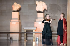 Mezzo-soprano Susan Bickley, right, with violinist Jacqueline Shave performing Berio's Recital I for Cathy in the Parthenon Room of the British Museum.