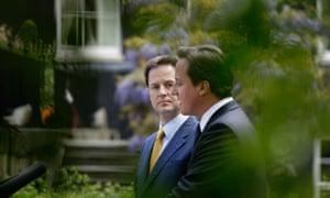 Clegg Politics and Cameron rose garden