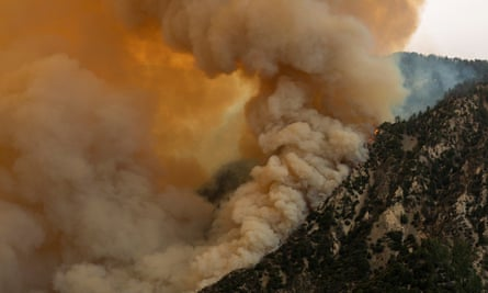 The Bobcat Fire makes a run up a mountainside in the Angeles national forest on Thursday.