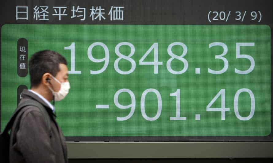 Coronavirus outbreak: after heavy losses in Asia Pacific, London's FTSE100 and Wall Street are braced for another frenzied day of trading on Monday.