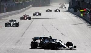 Bottas, clear of Hamilton.