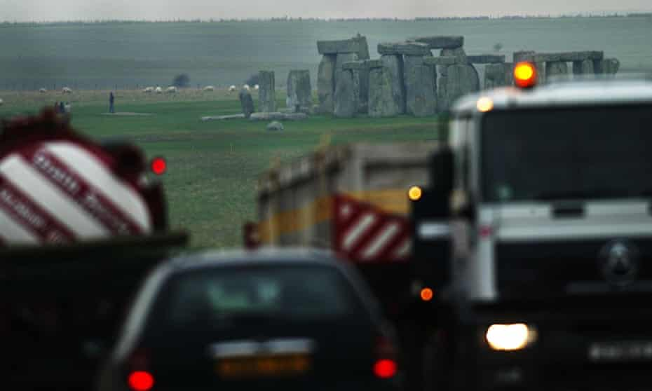 Heavy traffic on the A303 road by stonehenge.