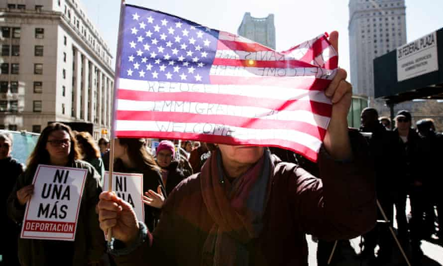 A protest in New York against US immigration policy. Ybarra's case sheds light on the threat of deportation to even those deemed to be Americans.