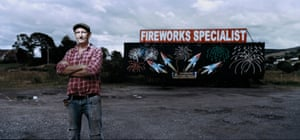 Vincent McKevitt, a firework specialist, stands outside his business in Newry, which is only metres from the Irish border.