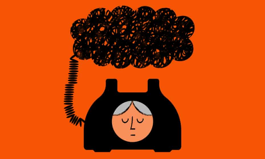 Illustration of a phone with a woman's face on it and a black cloud overhead