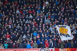 Middlesbrough fans including Red Faction group in the South Stand.
