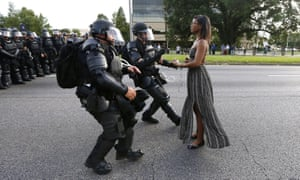 Protester Ieshia Evans is detained by Baton Rouge police in Louisiana, July 2016.
