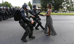 'When the armored officers rushed at me, I had no fear. I wasn't afraid.' Ieshia Evans protesting in Baton Rouge.