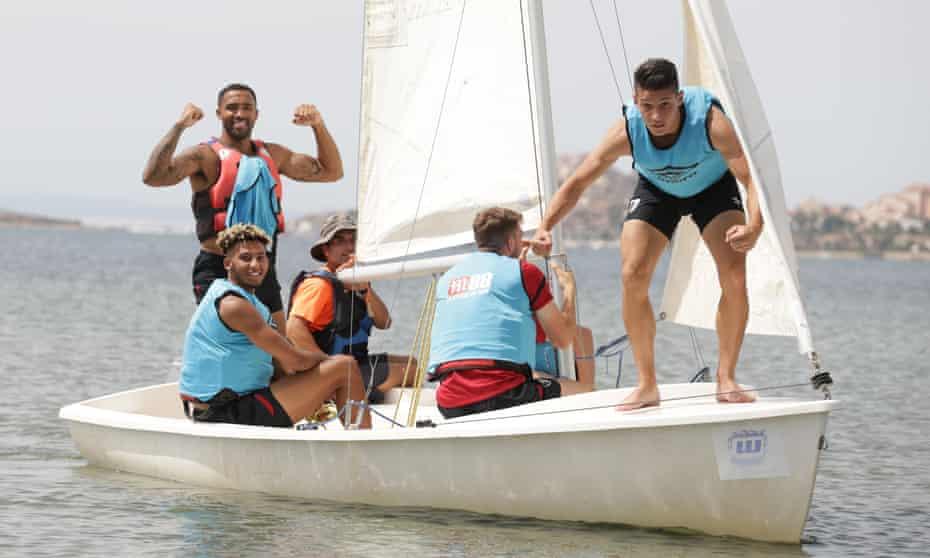 From left: Callum Wilson, Lloyd Kelly, Jack Stacey, Gavin Kilkenny and Alex Dobre during a pre-season team bonding sailing session in Spain.