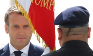 The French president, Emmanuel Macron, at the Arc de Triomphe in Paris.