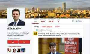 Burnham's leadership Twitter profile was changed to @andy4manchester, resulting in the news of his candidacy emerging sooner than planned.