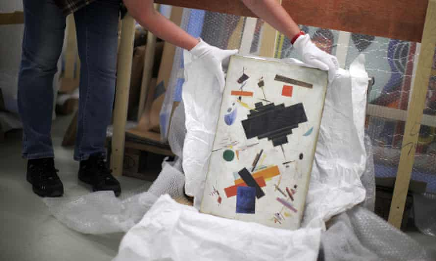 A painting with the inscription 'Kazimir Malevich - Supremus' was among the works seized by police in 2013.