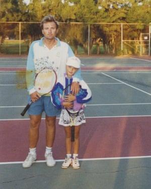 Maria Sharapova with her father Yuri in their first few days in Bradenton, Florida.