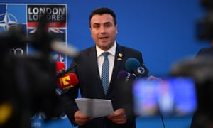 Zoran Zaev speaks to the media at the Nato summit in Watford, north of London, in December 2019
