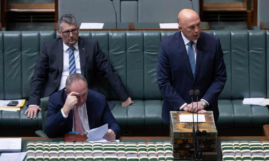 The leader of the house Peter Dutton tries to stop amendments moved by Nationals whip Damian Drum