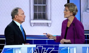 Warren making a point to Bloomberg during the debate