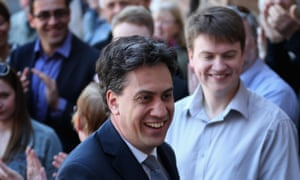 Labour Party leader Ed Miliband arrives at Pensby High School during his campaign tour in Wirral, Merseyside.